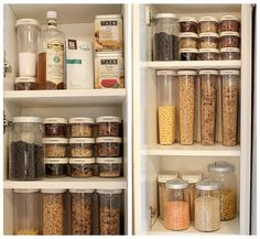Organizing grains, pasta and dry goods in see-through containers makes it a cinch to find what you need, to know when you need more and plus, makes it so pretty!