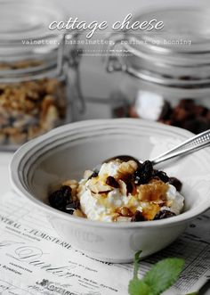 My breakfast:  cottage cheese with walnuts, hazelnuts, raisins and honey