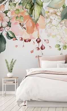 Stay on trend this year with these interior design trends 2021! It's all about the florals and this hanging floral wallpaper is the perfect choice for a romantic and feminine bedroom. Style with pink and grey bedroom décor for an ultra girly look you'll adore! FREE UK delivery within 2 to 4 working days. Read more trends and tips on our blog for the UK. Navy Living Rooms, Living Room Trends, Bedroom Murals, Bedroom Decor, Wall Decor, Cheap Home Decor, Diy Home Decor, Home Decor Quotes, Peel And Stick Wallpaper