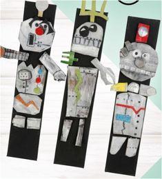 1. Teken op schuimrubber of stevig karton alle lichaamsdelen die nodig zijn voor jouw robot. 2. Verf de lichaamsdelen met zilveren plakaatverf. 3. Knip decoraties van glitter Foam en bevestig deze op de lichaamsdelen. Versier met verf, stiften of ander decoratiemateriaal. 4. Bevestig magneten aan de achterkant van de lichaamsdelen met sterke lijm. 5. Breng twee dikke lagen magnetische verf aan op een canvasdoek en laat het drogen. Skateboard, Robot, Paper Board, Skateboarding, Skate Board, Robots, Skateboards