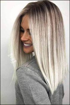 18 Inspiring Long Bob Hairstyle Ideas   Frisur, Haar und Haarfarbe   Einfache Frisuren