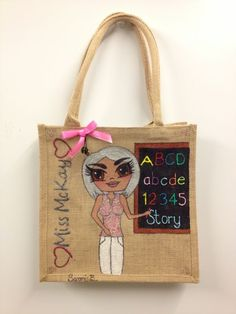 Perfect for primary school teachers or teachers assistants, personalised jute bag