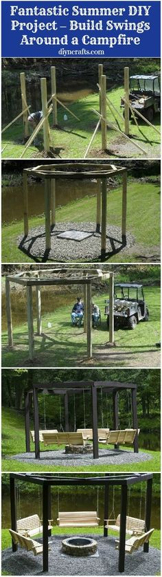 Fantastic Summer DIY Project – Build Swings Around a Campfire- great for parties, holidays and family time! I'd do this but built in a pergola top. So it would be a pagoda/pergola fire swing pit. Outdoor Projects, Home Projects, Furniture Projects, Diy Furniture, Backyard Furniture, Outdoor Furniture, Garden Cottage, Home And Garden, Big Garden