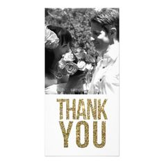 Gold Glitter Thank You Cards White & Gold Glitter Thank You Photo Cards
