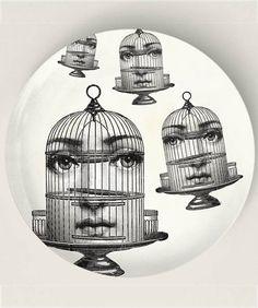 Jaula de pájaro, Original diseños inspirados por las placas de Fornasetti, placas de melamina Original con un tema de Fornasetti, artículos ...