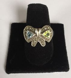 Vintage .925 ND Marcasite Bow Ring Size 7.75 Sterling Silver Emerald Aquamarine  | eBay