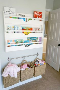 Birds Nursery Nursery Book and Toy Storage - love these solutions for keeping them off the floor!Nursery Book and Toy Storage - love these solutions for keeping them off the floor! Creative Toy Storage, Diy Toy Storage, Storage Rack, Hanging Storage, Smart Storage, Toy Storage Solutions, Stuffed Toy Storage, Ikea Storage, Basket Wall Storage