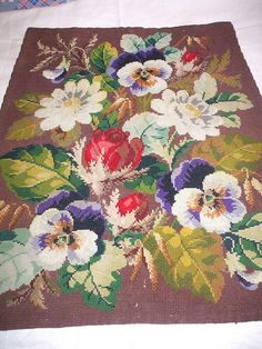Victorian Berlin woolwork chair cover