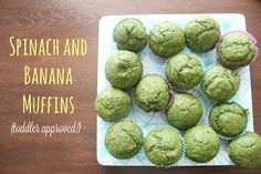 Spinach & Banana Muffins (Keep Calm & Carry On. Healthy Toddler Meals, Toddler Snacks, Kids Meals, Healthy Snacks, Healthy Eating, Healthy Recipes, Baby Meals, Baby Foods, Baby Food Recipes