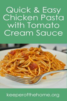 This recipe for Chicken Pasta with Tomato Cream Sauce is very easily adaptable. It can be made gluten and/or dairy free or not. It's entirely up to you!