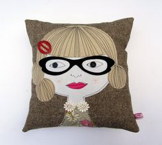 Geek Girl handmade Cushion, by Samantha Stas. at... samanthastas, etsy.com