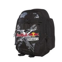 "Fox Racing Red Bull X-Fighters Backpack - Black by Fox Racing. $49.89. Fox Racing Red Bull X-Fighters Backpack 100% Polyester 600DScreen printed and embroidered logosMulti compartment bagOrganizer pocketsPadded laptop sleeveFleece lined valuables pocketWater bottle fits inside pocketAir mesh back panel with ergonomic shoulder strapsSkate strap systemDimensions 9.5""L x 13""W x 18""HCloseouts are limited to stock on hand"