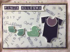 Karte zur Geburt / New baby card ||| Stampin' Up! ||| Alles fürs Baby/Baby's First, Aubergine/Elegant Eggplant, Distressing, Fähnchen/Banner, Labeler Alphabet, Lagunenblau/Lost Lagoon, Minzmakrone/Mint Macaron, Pergament-Papier/Parchment Paper, Pflaumenblau/Perfect Plum, Rund ums Datum/Date It, Savanne/Crumb Cake, Worte die gut tun/Sprinkles of Life, Something for Baby