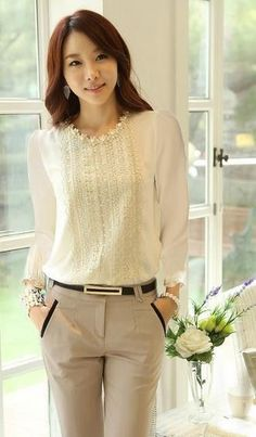 Women's Hollow Out Flower Lace Chiffon Pearl Embroidery Blouse | 9th Wave