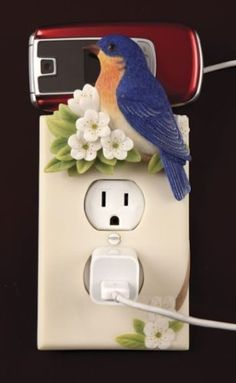 Bluebird Hand Painted Electric Outlet Cover & Cell Phone Holder By Ibis & Orchid Design Collection Switch Plate Covers, Light Switch Plates, Polymer Clay Crafts, Diy Clay, Phone Charger, Charger Holder, Clay Art Projects, Biscuit, Crafts For Kids