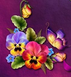 """Moonbeam's ~ """"Fanciful Pansy"""" ~ - Blumen Folk Art Flowers, Colorful Flowers, Flower Art, Beautiful Flowers, Tole Painting, Fabric Painting, Painting & Drawing, Watercolor Paintings, Deviantart Zeichnungen"""