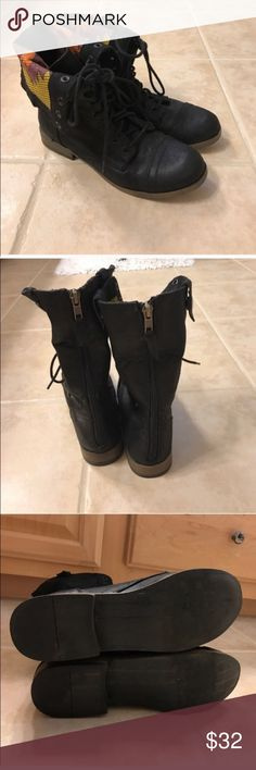 Mossimo size 8.5 fold over aztec combat boots Mossimo size 8.5 fold over aztec combat boots Mossimo Supply Co. Shoes Combat & Moto Boots
