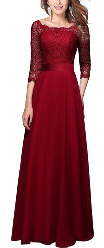$70 . . .A Beautiful (and modest!) Prom Dress from Amazon . . .Rongstore Women's 3/4 Long Sleeves A Line Lace Burgundy