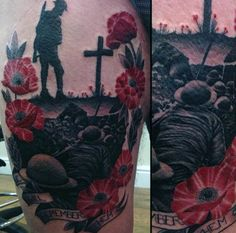 75 Poppy Tattoo Designs For Men - Remembrance Flower Ink Remembrance Flowers, Remembrance Tattoos, Memorial Tattoos, Poppy Tattoo Sleeve, Sleeve Tattoos, Poppy Tattoo Men, Tattoo Sleves, Army Tattoos, Military Tattoos