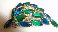 Retro Blue/Green Art Glass Open Backed Navettes With Aurora Borealis 1950s Brooch by TimsSecretTreasures on Etsy