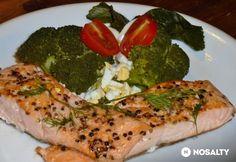 Serpenyős lazac brokkolis körettel Fish Recipes, Cake Recipes, Jacque Pepin, Arancini, Vegetable Pizza, Broccoli, Food And Drink, Dishes, Chicken