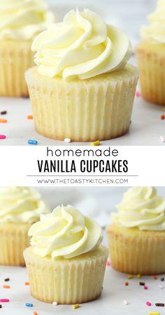 Vanilla Homemade Cupcakes - The Toasty Kitchen Homemade Cupcake Recipes, Cupcake Recipes For Kids, Cupcake Recipes From Scratch, Frosting Recipes, Baking Recipes, Dessert Recipes, Buttercream Frosting, Chocolate Cupcakes From Scratch, Breakfast Recipes