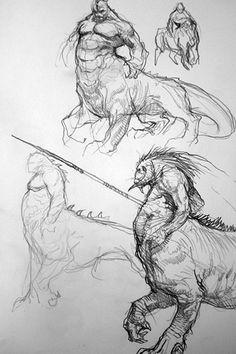 Dragon Ogre, par Karl Kopinski, in Warhammer Battle 6e édition livre d'armée Bêtes du Chaos, croquis