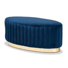 Blue Velvet Channel Tufted Oval Coffee Table Ottoman Ottoman Table, Ottoman Footstool, Upholstered Ottoman, Ottomans, Brown Lounge, Velvet Furniture, Blue Furniture, Built In Wine Rack, Blue Velvet Fabric