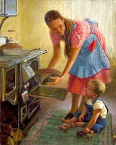 From Loren Entz American), Billings, Montana artist painting a quieter, more domestic side of rural Western life. Reminds me of Norman Rockwell. Norman Rockwell, Vintage Art, Vintage Photos, Vintage Ideas, Vintage Housewife, Western Art, Mothers Love, Mother And Child, Illustration Art