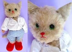 "17"" Antique Kersa Cat Mohair Toy Puss n Boots Stuffed Animal Vintage Teddy Bear #Kersa"