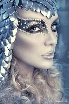 Silver make up for a masquerade                                                                                                                                                                                 Plus