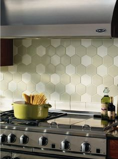 I respectfully disagree with the blog source - I think this hex tile is perfect in the kitchen!