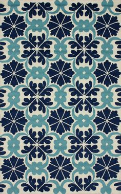 Rugs USA Fergana Royal Tiles Trellis Blue Rug, handmade, flower, floral, pattern, transitional, sale, discount, home decor, interior design
