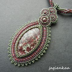 Lovely bead-bezelled and embroidered pendant by Jagienkaa