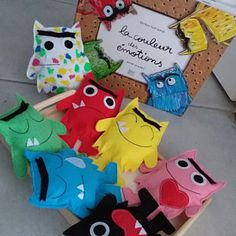 The Colour Monster ( 7 monsters set ) Puppet Edition Monster Activities, Color Activities, Fabric Doll Pattern, Fabric Dolls, Jessie, Jar Games, Funny Monsters, Colors And Emotions, Activity Mat