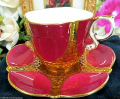 AYNSLEY TEA CUP AND SAUCER RED & RAISED GOLD TEACUP PATTERN TEXTURED