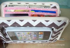 Super Mega Touch Screen Wallet, iphone wallet wristlet, large wallet, bifold wallet, fabric phone case,cell phone wallet, chevron, grey on Etsy, $58.00
