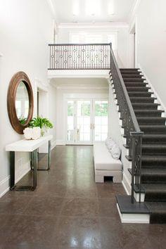Pinecroft contemporary entryway.  staircase. home decor and interior decorating ideas.