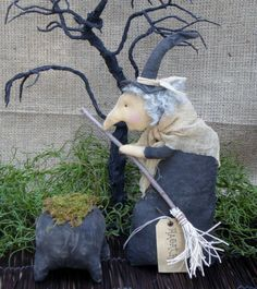 Prim Witch for Halloween and Home Decor by MyStitchesToTreasure, $19.50