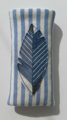 Appliquéd, Blue and White Feather, Glasses Case