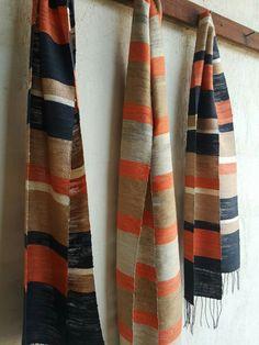 Silk scarves Woven Scarves, Handmade Scarves, Loom Weaving, Hand Weaving, Scarf Display, Spinning Wool, Textiles, Summer Scarves, Scarf Design