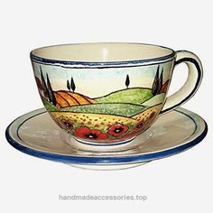 CERAMICHE D'ARTE PARRINI – Italian Ceramic Mug Cup & Saucer Breakfast Milk Decorated Poppies Landscape Hand Painted Made in ITALY Tuscan Check It Out Now     $73.00    Ceramic Cup & Saucer Breakfast Milk . Tuscan landscape with rolling hills, vineyards, cypresses, olive trees, houses  ..  http://www.handmadeaccessories.top/2017/03/28/ceramiche-darte-parrini-italian-ceramic-mug-cup-saucer-breakfast-milk-decorated-poppies-landscape-hand-painted-made-in-italy-tuscan-2/