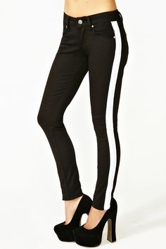 Could do a really cool graphic/optical illusion  Tux Stripe Skinny Jeans
