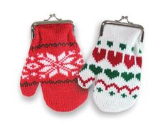 Knitted Mitten Christmas Change Purse