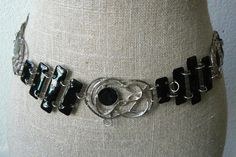 "Vtg Silver Tone Black Enamel 52"" Long Link Belt Fashion | eBay"