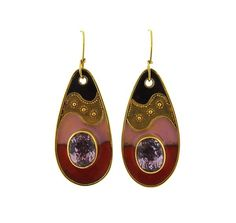 22K Gold Kunzite Enamel Drop Earrings Featured in our upcoming auction on October 20!
