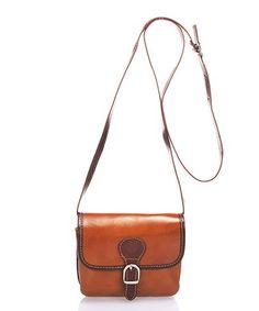 3c202e016b Lisa Minardi Cognac Buckle-Accent Leather Crossbody