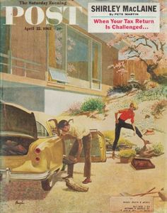 """1961 SATURDAY EVENING POST vintage magazine cover """"rock gardens"""" ~ Saturday Evening Post magazine cover page for April 22, 1961, featuring artwork of George Hughes ~   Cover description (from magazine): There are many reasons for putting rocks in rock gardens. They help prevent topsoil from washing away. They keep roots moist. They take up space which weeds might otherwise occupy. And as the poor sap on George Hughes's cover demonstrates, they keep husbands in condition ..."""