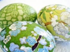 Origami paper decoupage Easter eggs. This would be cute to do on wooden balls or something, in a bowl
