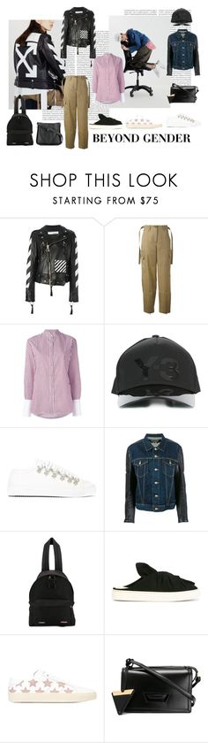 """Beyond Gender"" by tessabit ❤ liked on Polyvore featuring Oris, Off-White, Helmut Lang, Victoria, Victoria Beckham, Y-3, J.W. Anderson, Junya Watanabe, Vetements, Ports 1961 and Yves Saint Laurent"